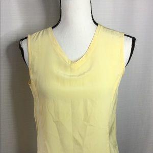 BILL BLASS Soft Yellow Sleeveless Silk Top Size M